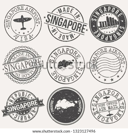 Singapore Set of Stamps. Travel Stamp. Made In Product. Design Seals Old Style Insignia.