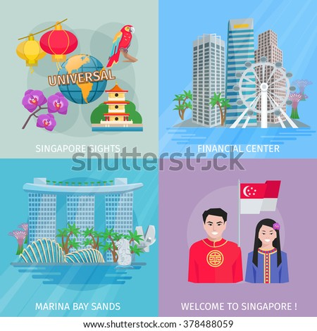 singapore sights 4 flat icons
