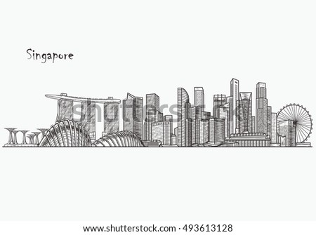 Singapore skyline. Hand drawn vector illustration