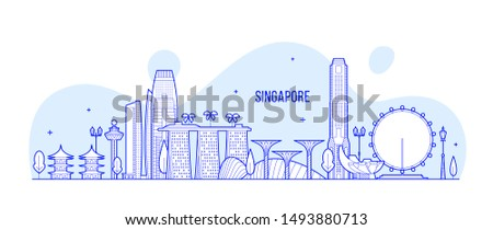 Singapore skyline. This illustration represents the city with its most notable buildings. Vector is fully editable, every object is holistic and movable