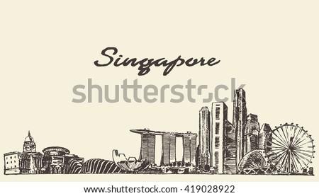 singapore skyline  vector...