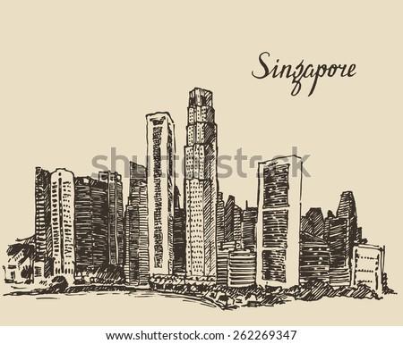 singapore skyline  vintage...