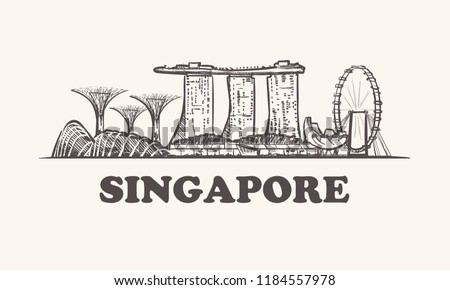Singapore skyline, vintage vector illustration, hand drawn elements buildings of Singapore on white background.
