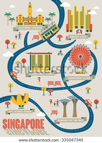 Singapore travel map with lovely attractions in flat design