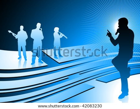 singer and band on abstract