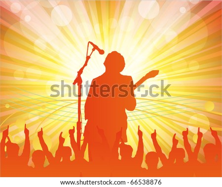 singer and the crowd of fans - vector concert poster