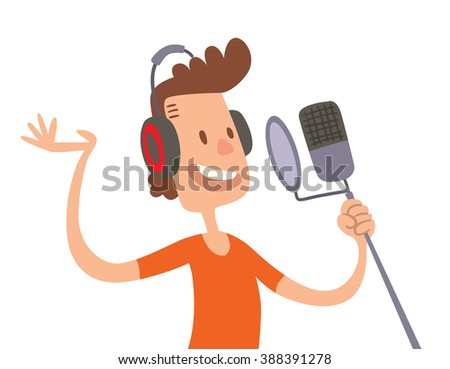 singer cartoon boy flat
