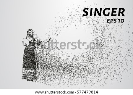 Singer from particles. The silhouette of the singer consists of dots and circles. Vector illustration.
