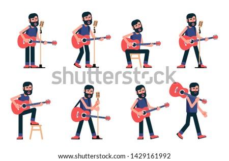 Singer guitarist sings in various poses. Musician with acoustic guitar. Vector flat character.
