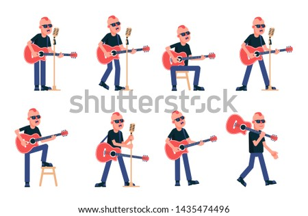 Singer guitarist with acoustic guitar in various poses. Rock Star with a punk hairstyle in black glasses. Vector isolated illustration.