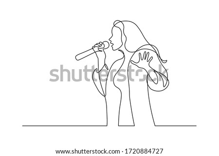 singer in continuous line art
