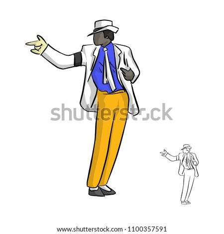 singer in white suit and a glove dancing with famous style vector illustration sketch doodle hand drawn with black lines isolated on white background