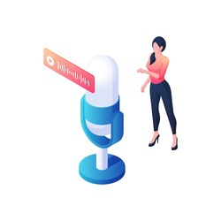 Singer is recording new song isometric illustration. Dancing female character sings new musical hit front of microphone. Vocal electronic art and stylish music performance vector concept.