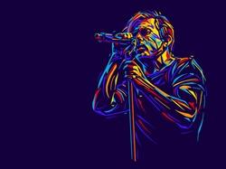 Singer man character. Abstract vector illustration
