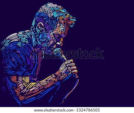 Singer man character. Abstract vector illustration Сток-фото ©