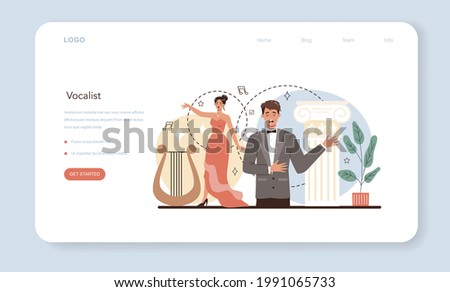 Singer web banner or landing page. Opera performer singing on stage. Vocal music show, live sound performance. Vector illustration in flat style