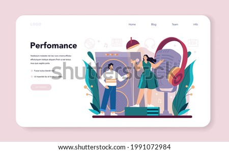 Singer web banner or landing page. Performer singing with microphone on stage. Music show, live sound performance. Vector illustration in flat style