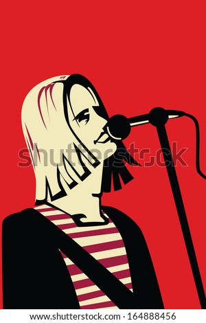 singer with long hair vector