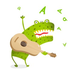 Singing and Playing Guitar Fictional Character Monster. Funny monster playing guitar and singing. Cute music cartoon for kids.