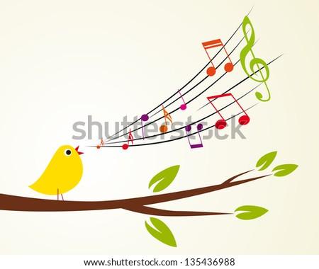 singing bird on a branch (Vector illustration)