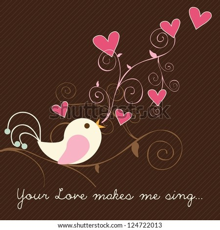 Singing bird with hearts on brown background. Vector Illustration.