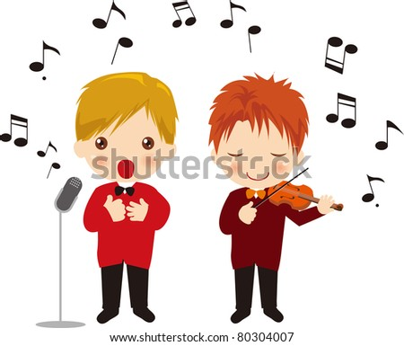 Singing boy and Playing the violin boy