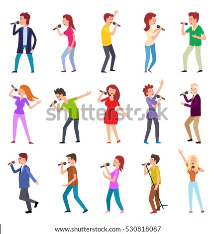 singing characters isolated on