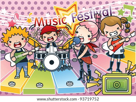 Stock Photo Singing Cute Young Children with Happy Music Festival - Rock & Roll Kids with various musical instruments on pink background with dot pattern : vector illustration