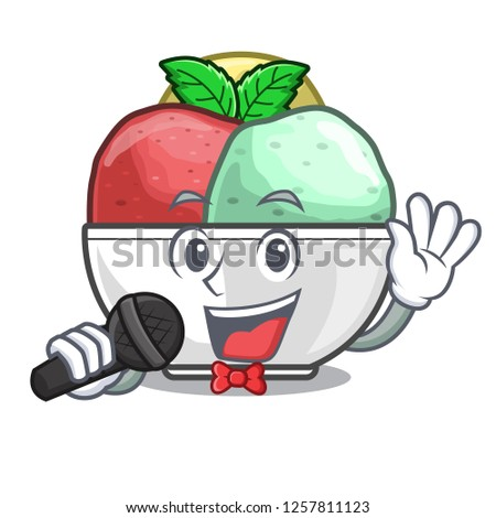 Singing scoops of sorbet in isolated mascot