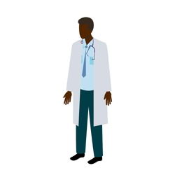 Single African male doctor in lab coat, necktie and stethoscope with blank face and open hands