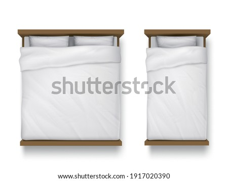 Single and double beds with white sheet, pillows and duvet top view. Vector realistic mockup of blank linen on wood beds, 3d furniture for sleep isolated on white background