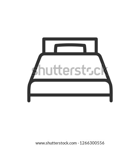 single bed. linear icon. Line with editable stroke