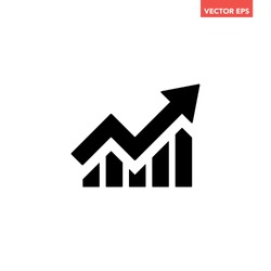Single black arrow growing pointing up on chart graph bars icon, success graph trending upwards flat design interface infographic element for app ui ux web button, vector isolated on white background
