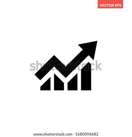 Single black arrow growing up business icon, simple successful chart graph bars flat design interface infographic element for app ui ux web button, vector isolated on white background Stock photo ©