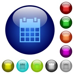 Single calendar icons on round glass buttons in multiple colors. Arranged layer structure