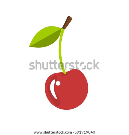 Single cherry with a leaf, isolated vector illustration