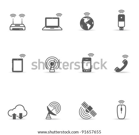 Single Color Icons - Wireless World - stock vector