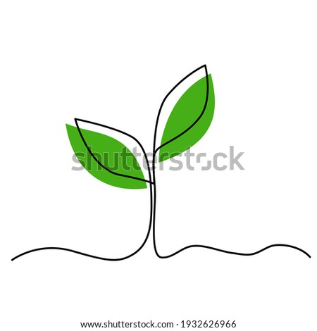 Single continuous line art growing plant leaves. Environmental protection concept, eco natural farm concept, Earth day, organic food, vegan products. Sketch outline drawing vector illustration