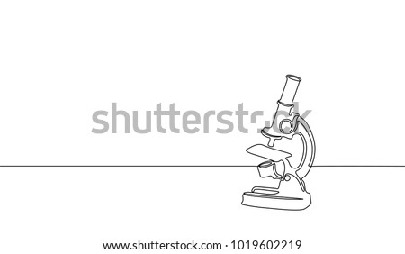Single continuous line art science research microscope. Biology micro technology medicine business design one sketch outline drawing vector illustration art