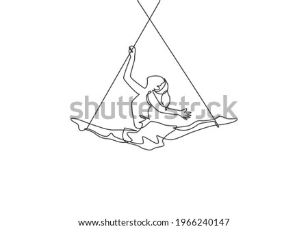Single continuous line drawing a female acrobat performs on the trapeze while dancing and spreading her legs apart. It takes courage and risks. Dynamic one line draw graphic design vector illustration Stockfoto ©