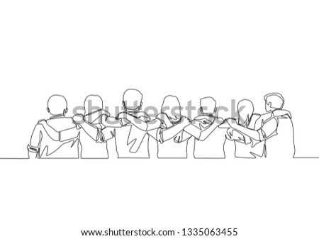 Single continuous line drawing about group of men and woman from multi ethnic standing together to show their friendship bonding. Unity in diversity concept one line draw design illustration