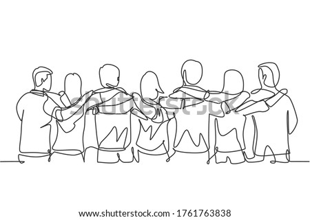 Single continuous line drawing about group of men and woman from multi ethnic standing together to show their friendship bonding. Unity in diversity concept one line draw design vector illustration