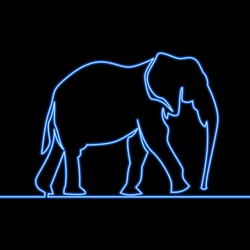 Single continuous line drawing elephant outline icon neon glow vector illustration concept