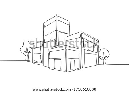 Single continuous line drawing luxury house building at big city. Home architecture property isolated minimalism concept. Dynamic one line draw graphic design vector illustration on white background