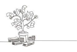 Single continuous line drawing money tree. Green cash banknotes with golden coins. Tree in ceramic pot. Concept of earnings, success in work, money. One line draw graphic design vector illustration