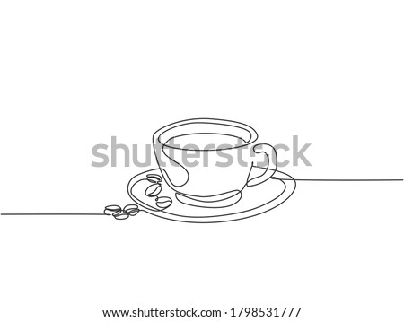 Single continuous line drawing of a cup of coffee drink with coffee beans on ceramic coaster and table. Coffee drink concept display for coffee shop. One line draw design illustration