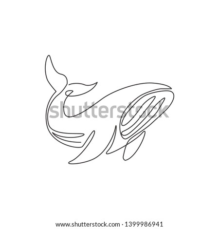 Single continuous line drawing of big whale for marine company logo identity. Big fish mammal animal mascot concept for business logotype. One line draw design illustration