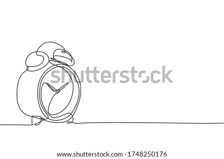 Single continuous line drawing of classic alarm clock with ring bell. Wake up timer tools concept. Modern one line draw design graphic vector illustration Сток-фото ©