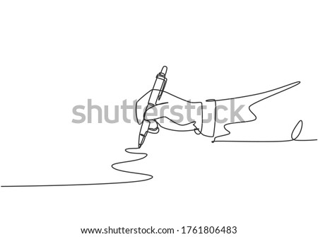 Single continuous line drawing of hand gesture drawn straight zig zag line. Write long zigzag streak with pen on notepad concept. Modern one line draw design vector graphic illustration