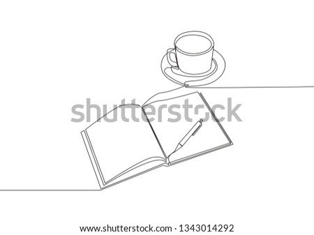 Single continuous line drawing of hand gesture writing on an open book beside a cup of coffee. Write concept one line draw design illustration